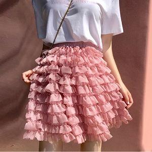 Tiered Ruffle Tulle Mini Skirt
